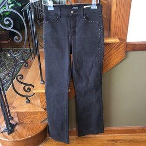 NYDJ Charcoal Straight Rhinestone Jeans 4